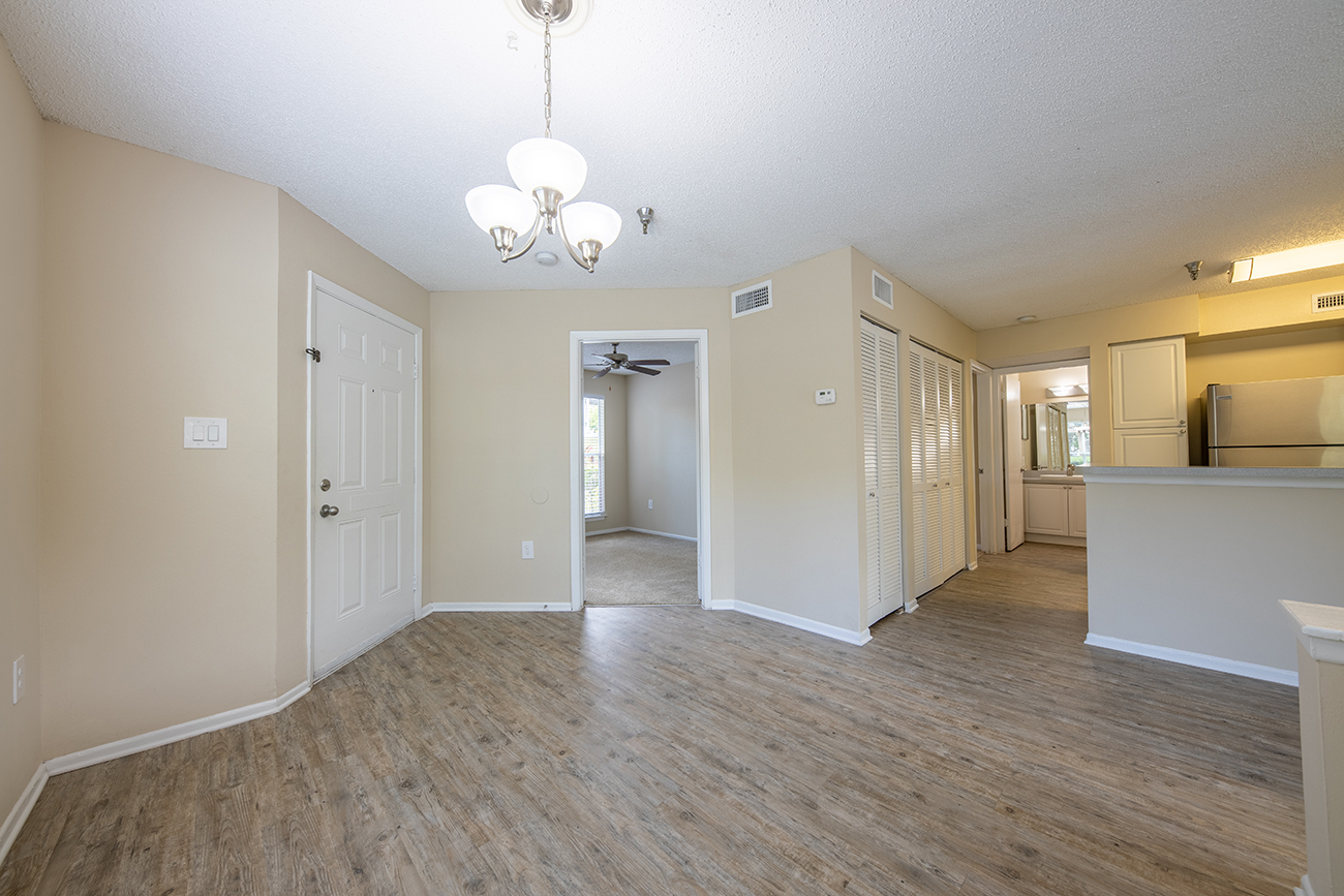 The Ficus (3 Bedroom): Open concept floor plan with designated dining area
