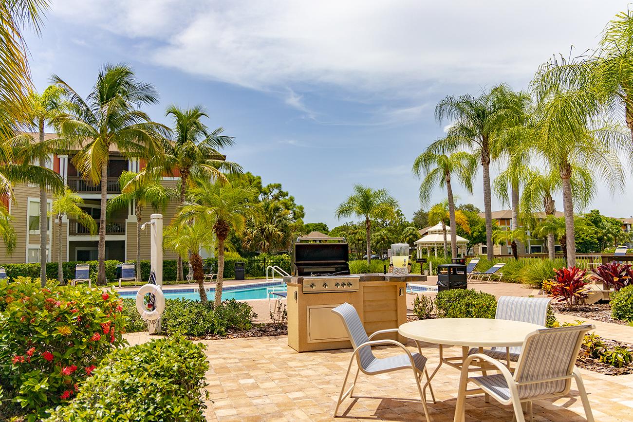 Enjoy a tropical poolside BBQ