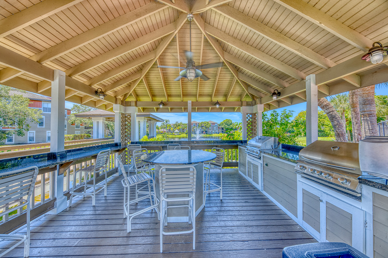 Covered outdoor kitchen with BBQs and plenty of seating