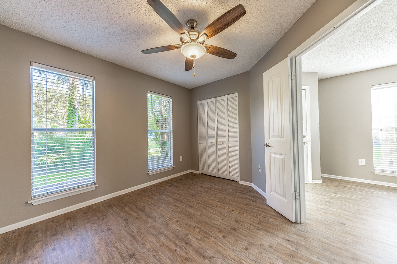 The Ficus (3 Bedroom): Third bedroom features french doors (could be a great home office as well!)