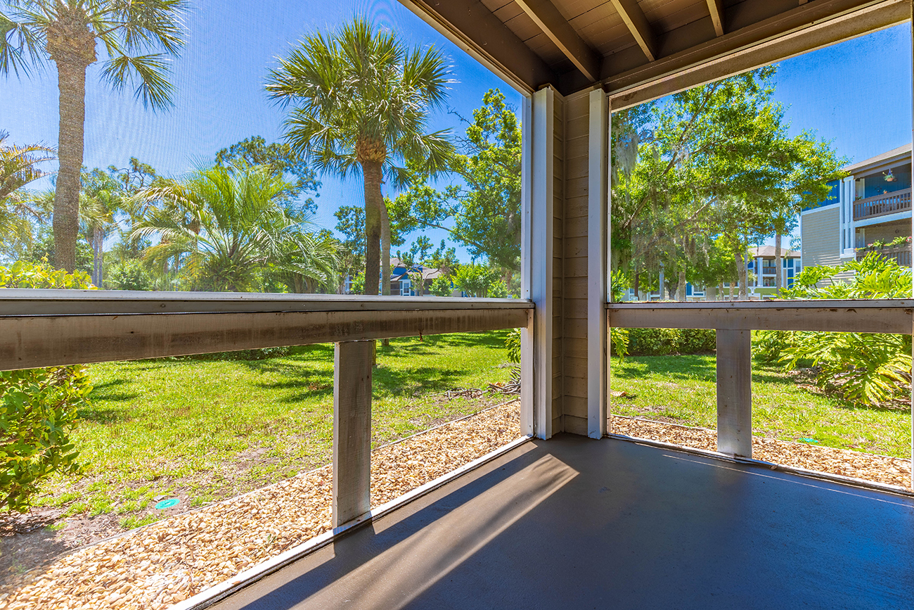 The Cypress (1 Bedroom): 12 x 6' lanai (screened lanais available in select homes)