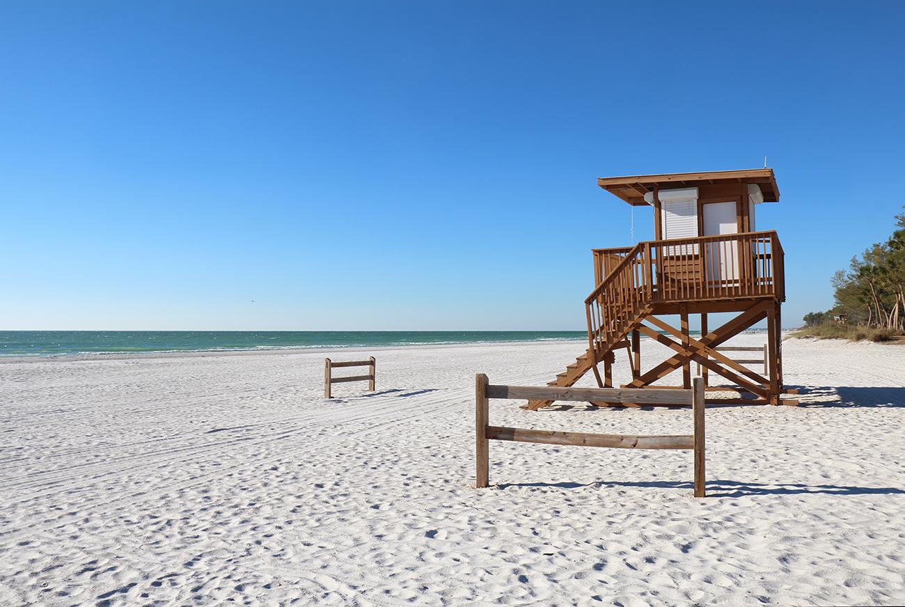 White sands of Coquina Beach