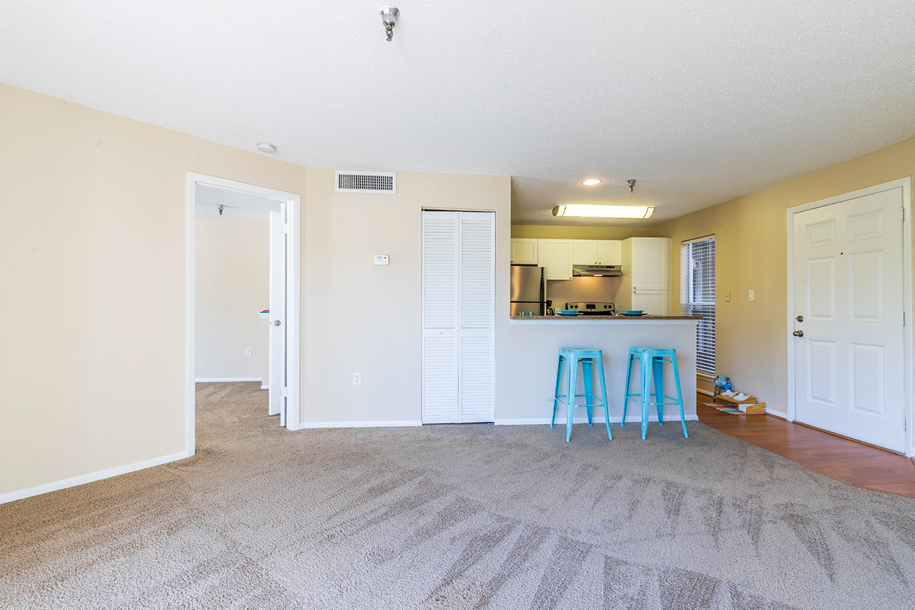 The Ashe (1 bedroom): Open concept living-dining area